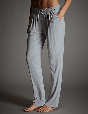 Tapered Leg Pyjama Bottoms, GREY MARL, catlanding