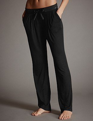 Tapered Leg Pyjama Bottoms, BLACK, catlanding