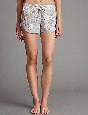Palm Print Short Pyjama Bottoms, GREY MIX, catlanding