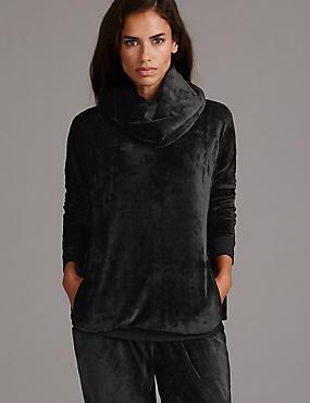 Fleece Cowl Neck Pyjama Top, BLACK, catlanding
