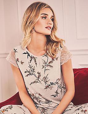 Short Sleeve Printed Pyjama Top, OATMEAL MIX, catlanding