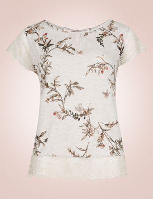 Пижамный топ с коротким кружевным рукавом и растительным рисунком от Marks & Spencer