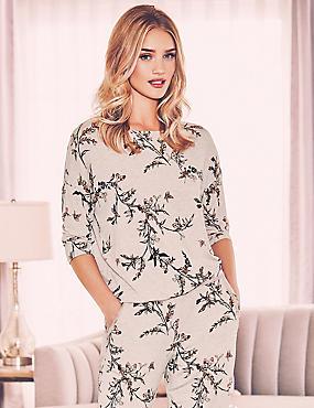 3/4 Sleeve Printed Pyjama Top, OATMEAL, catlanding