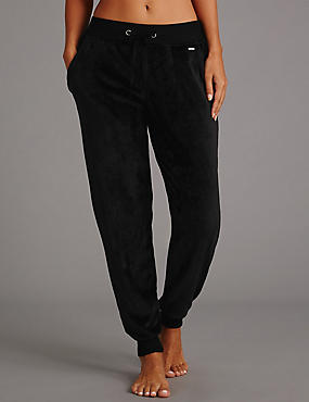 Fleece Cuffed Pyjama Bottoms, BLACK, catlanding