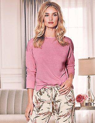 Lace Back Pyjama Top, PINK MIX, catlanding