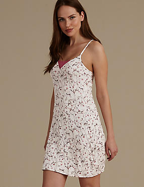 Bird Print Strappy Support Chemise, OATMEAL, catlanding