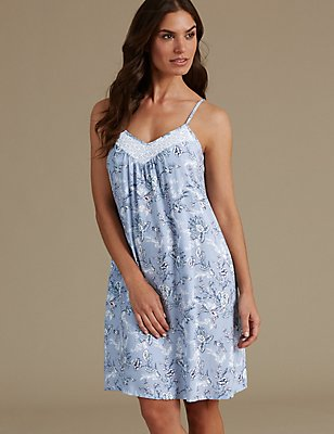 Pure Modal Floral Print Chemise, LIGHT BLUE MIX, catlanding
