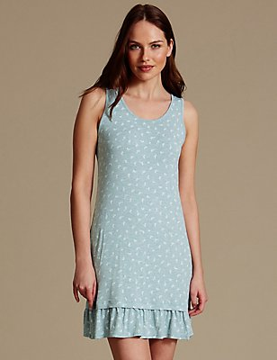 Built-up Shoulder Leaf Print Chemise, MINT MIX, catlanding