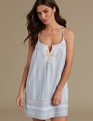 Pure Cotton Striped Strappy Chemise, BLUE MIX, catlanding