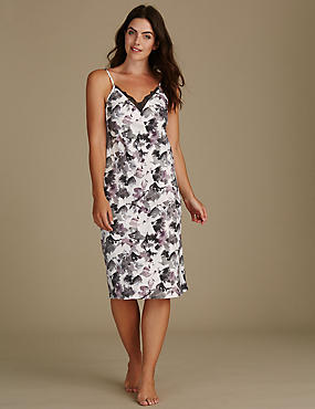 Satin Printed Strappy Chemise, BLACK MIX, catlanding
