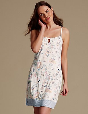 Floral Print Strappy Chemise, NEUTRAL, catlanding