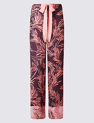 Printed Long Pyjama Bottoms, AUBERGINE, catlanding