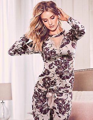 Floral Print Long Sleeve Pyjama Top, PINK MIX, catlanding
