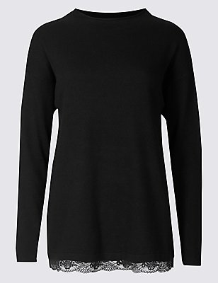 Long Sleeve Lace Trim Pyjama Top with Cashmere, BLACK, catlanding