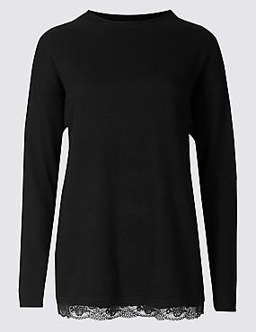 Long Sleeve Lace Trim Pyjama Top with Cashmere, BLACK, catlanding