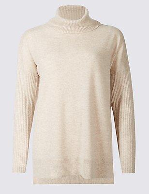 Pure Cashmere Funnel Neck Pyjama Top, CHAMPAGNE, catlanding