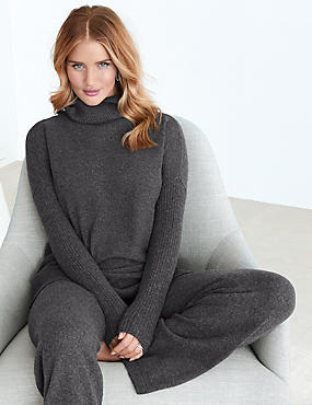 Pure Cashmere Ribbed Long Sleeve Pyjama Top, CHARCOAL, catlanding