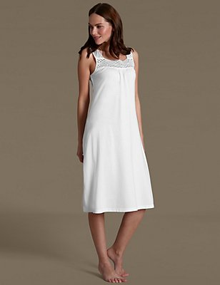 Crochet Front Nightdress with Cool Comfort™ Technology, WHITE, catlanding
