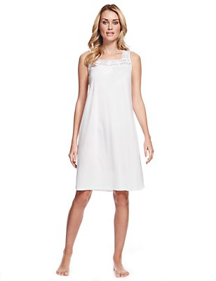 Modal Blend Embroidery Neckline Nightdress with Cool Comfort™ Technology, WHITE, catlanding