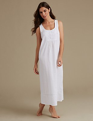 Pure Cotton Embroidered Nightdress, WHITE MIX, catlanding