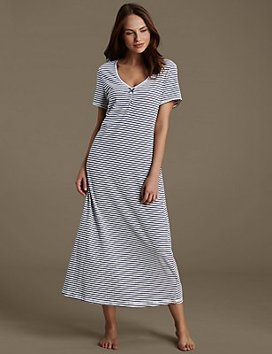Cotton Rich Striped Nightdress , BLUE MIX, catlanding