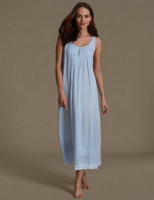 Pure Modal Foulard Print Long Nightdress, BLUE MIX, catlanding