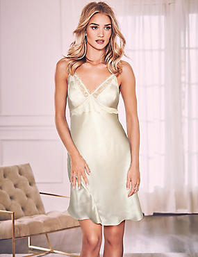 Pure Silk Strappy Chemise, IVORY, catlanding