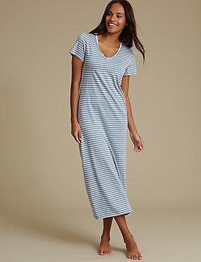 Cotton Blend Striped Nightdress, BLUE MIX, catlanding