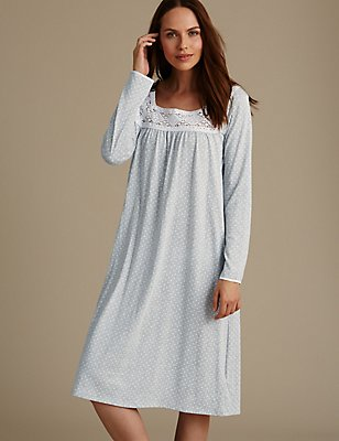 Long Sleeve Spotted Crochet Trim Nightdress, GREY MIX, catlanding
