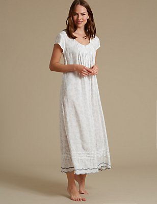 Shadow Print Long Nightdress, GREY MIX, catlanding