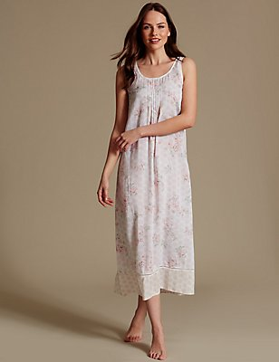 Pure Modal Floral Print Nightdress, CREAM MIX, catlanding