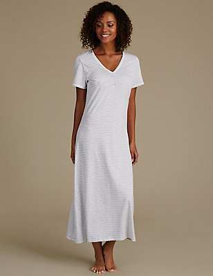 Modal Blend Striped Nightdress, GREY MIX, catlanding