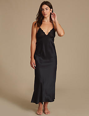 Satin Strappy Nightdress, BLACK MIX, catlanding