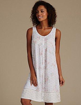 Pure Modal Floral Print Short Nightdress, CREAM MIX, catlanding