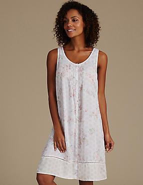 Pure Modal Floral Print Short Nightdress, CREAM MIX, catlanding