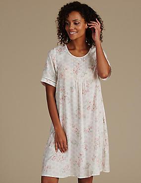 Pure Modal Floral Print Nightdress, CREAM MIX, catlanding