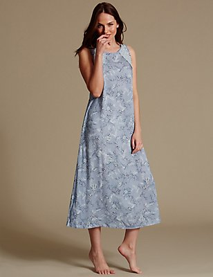 Pure Modal Floral Print Long Nightdress, LIGHT BLUE MIX, catlanding