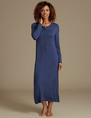 Lace Trim Long Nightdress, NAVY, catlanding