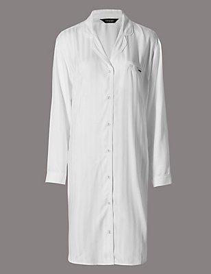 Pure Modal Stripe Button Through Nightshirt, WHITE, catlanding
