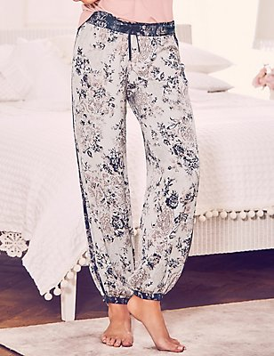 Satin Floral Harem Pyjama Bottoms, BLUE MIX, catlanding