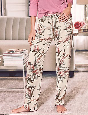 Satin Floral Long Pyjama Bottoms, IVORY MIX, catlanding