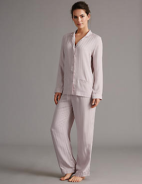 Pure Modal Long Sleeve Pyjamas, PINK, catlanding