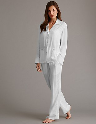 Pure Modal Long Sleeve Pyjamas, WHITE, catlanding