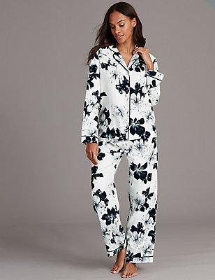 Floral Print Long Sleeve Pyjamas , DARK GREY, catlanding