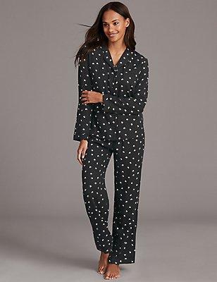 Geometric Print Long Sleeve Pyjamas, BLACK MIX, catlanding