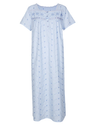 Floral Embroidered Nightdress Clothing