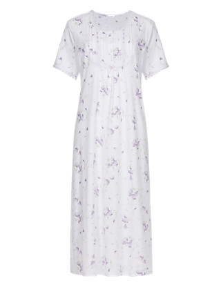Bib Front Pintuck Floral Nightdress Clothing