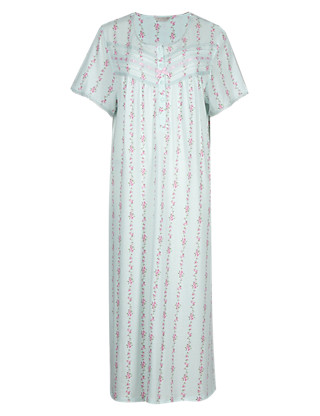 Floral Ribbon Slot Nightdress Clothing