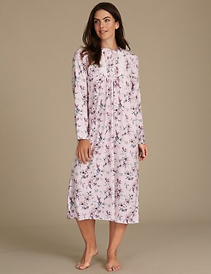 Pure Cotton Floral Print Nightdress, PINK MIX, catlanding