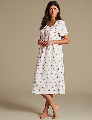 Ditsy Floral Print Short Sleeve Nightdress, CREAM MIX, catlanding